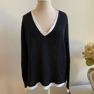 Chico's layered look V-neck linen sweater